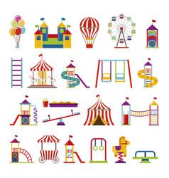 bundle set amusement park icons vector image