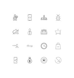 Business linear thin icons set outlined simple vector