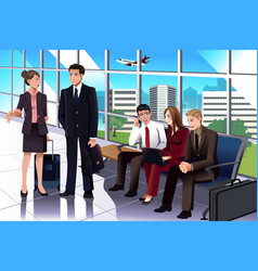 business people waiting in the airport vector image