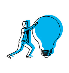 businessman pushing a big light bulb in blue vector image