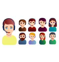 Call center employees icons set cartoon style vector