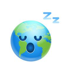 Cartoon earth face tired sleeping icon funny vector