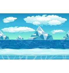 cartoon winter landscape with ice and snow vector image