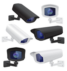 cctv camera set white and black security vector image