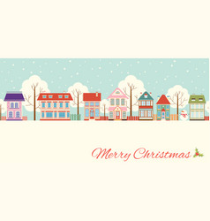 Christmas card with cute cottages in victorian vector