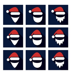 christmas flat icon set of santa vector image