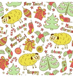 Christmas seamless pattern with animals sheep vector