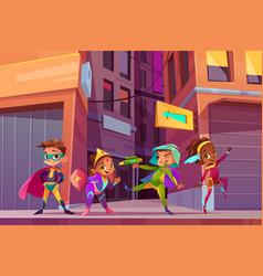 city children superheroes cartoon concept vector image