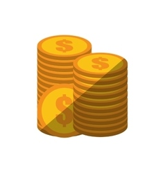 Coins stack money golden color shadow vector
