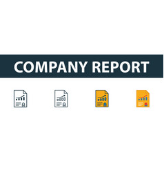 company report icon set four simple symbols in vector image