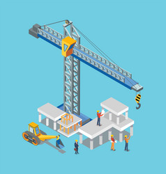 construction building machines and worker man vector image