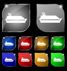 Cruise sea ship icon sign set of ten colorful vector