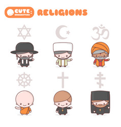 Cute characters people different religions vector