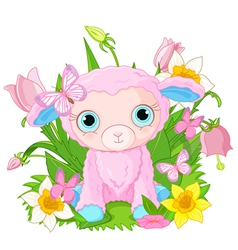 Cute cub sheep vector
