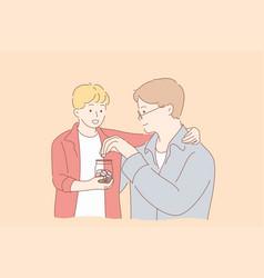 fatherhood childhood money help concept vector image