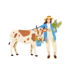 female farmer character standing near cow woman vector image