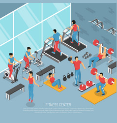 Fitness center interior isometric poster vector