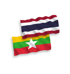 Flags myanmar and thailand on a white vector