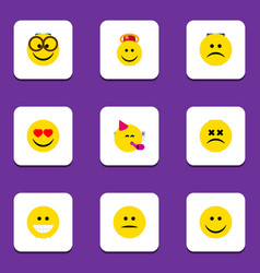Flat icon expression set of cross-eyed face angel vector