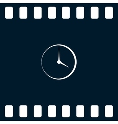 Flat round clock icon vector image