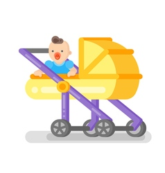 flat style of baby in the stroller vector image