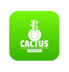 floral cactus icon green vector image