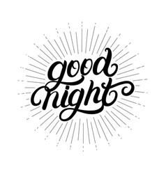 good night hand written lettering vector image