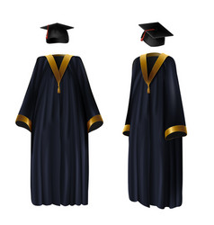 Graduation clothing gown and cap vector