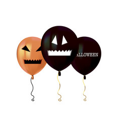 Halloween air flying balloons scary pumpkin face vector