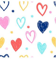 Hand drawn hearts doodle vector