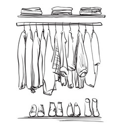Hand drawn wardrobe sketch clothes and shoes vector