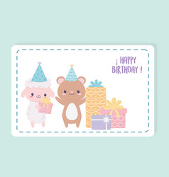happy birthday sheep bear with gifts and party vector image