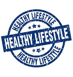Healthy lifestyle blue round grunge stamp vector