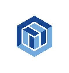 Hexagon geometric logo design vector