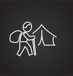 Hiking camp thin line on black background vector