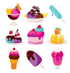Ice cream sundaes and popsicles vector