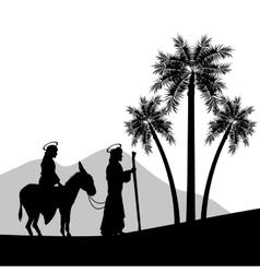Joseph maria and donkey icon Merry Christmas vector