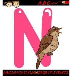 Letter n for nightingale cartoon vector