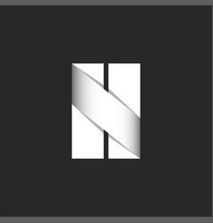 letter n logo bold font paper cut stripes black vector image