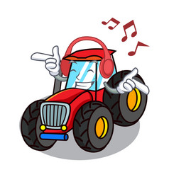 Listening music tractor mascot cartoon style vector