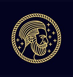 man beard monoline vector image