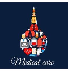 Medical care poster of enema syringe symbol vector image