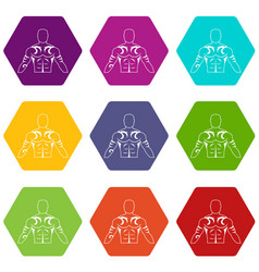 muscular man with tattoo icon set color hexahedron vector image