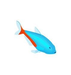 Neon fish isometric composition vector