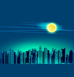 night city skyscrapers vector image