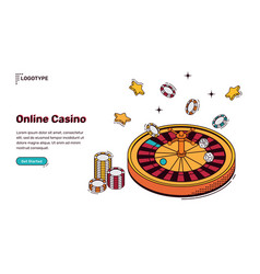 online casino isometric landing page web banner vector image