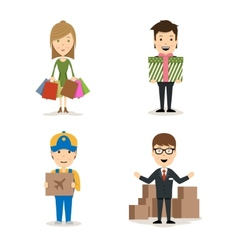 People shopping characters vector