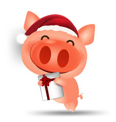 pig happy chinese new year 2019 cartoon isolated vector image