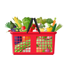 plastic shopping basket full of vegetables vector image