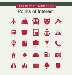 Points of intrest icons set vector